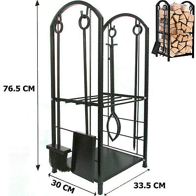 £34.99 • Buy Large Fireplace Log Rack With 4 Tools Indoor Outdoor Fireside Firewood Holders