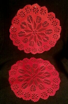 $ CDN7.51 • Buy Pair Of Vintage Red Christmas Poinsettia Doilies