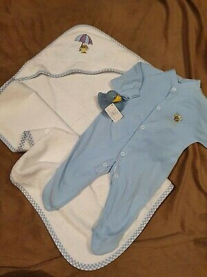 New Baby Boys Gift Set Hooded Towel Rubber Duck Blue Sleepsuit 0-3 Months (k) • 9.99£