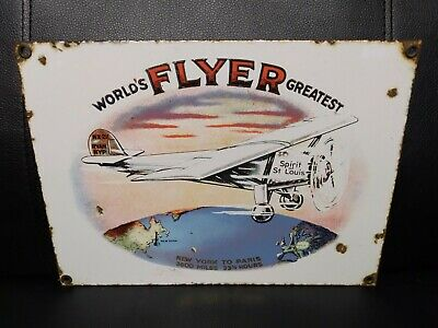 $ CDN11.37 • Buy Old Vintage WORLDS GREATEST FLYER NY TO PARIS Porcelain Sign Aviation Route