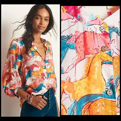 $ CDN124.63 • Buy Anthropologie Maeve Pastoral Watercolor Blouse Size MEDIUM Horses Red Gold Blue