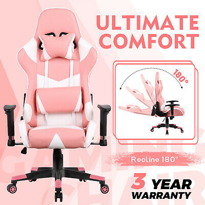 AU159.90 • Buy Computer Gaming Chair Executive Office Recliner Racer PU Leather Seat White Pink