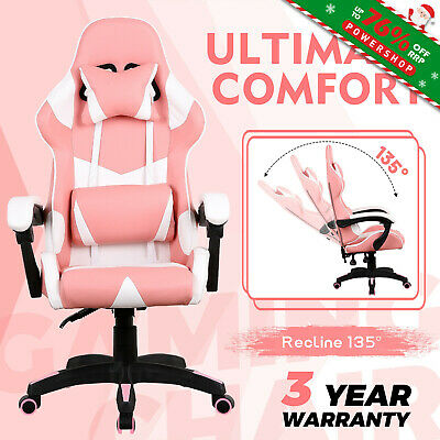 AU139.90 • Buy Gaming Computer Office Chair Executive Recliner PU Leather Racer Seating Pink