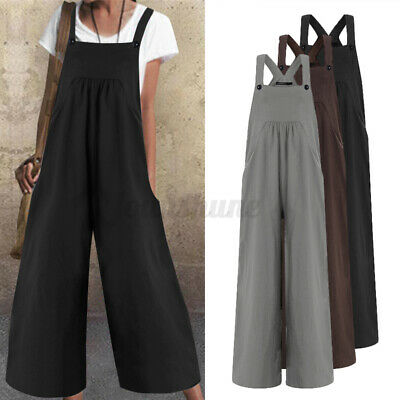 £9.99 • Buy UK STOCK Womens Baggy Harem Dungarees Casual Strappy Jumpsuits Wide Leg Overalls