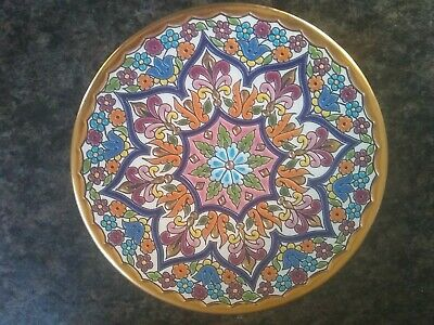 Vintage Enamel Wall Plate 24K Gold Pintado A Mano Cearco Spanish Wall Art  • 10£