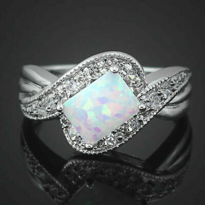 925 Silver Filled Art Deco Design White Fire Opal Style Ring Size P 1/2 Last 1 • 7.99£