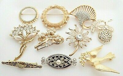 $ CDN94.61 • Buy Vintage Lot Of Jewelry Rhinestone Faux Pearl Marvella Signed Brooches Pins