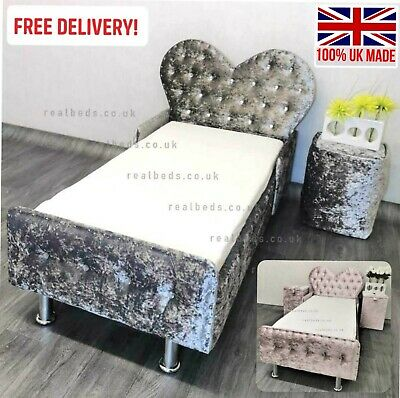 £270 • Buy Heart Toddler Bed In Crushed Velvet FREE Delivery - Kids Princess Fairy Luxury