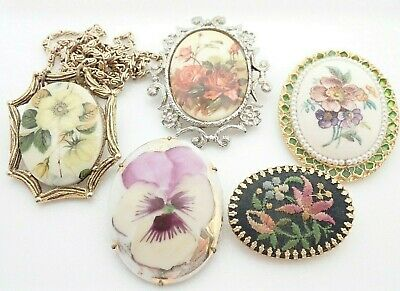 $ CDN50.49 • Buy Vintage Lot Of Jewelry Porcelain Painted Flower Pendant Necklace Brooches Pins