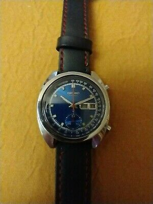 $ CDN450 • Buy Vintage 6139-6015 Seiko Chronograph  Automatic Blue Dial Watch