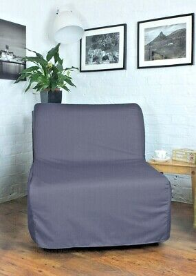 Slip Cover For Ikea Lycksele Chair Bed Grey Polycotton Fabric • 55£