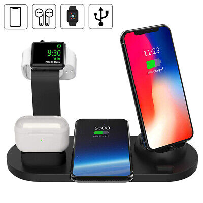 AU25.69 • Buy 4in1 Qi Wireless Charger Dock Charging Station Pad For IWatch IPhone 12Pro 11 XS