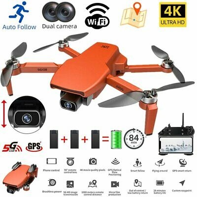 AU218.19 • Buy GPS With 4K HD Dual Camera 5G Wifi FPV Drone RC Quadcopter Brushless Foldable