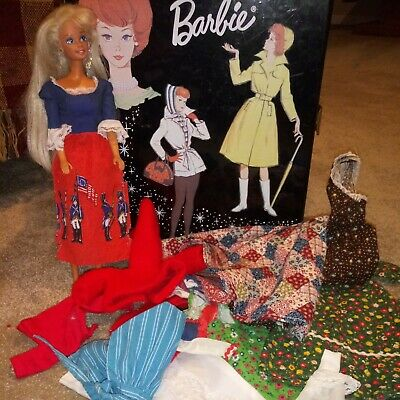 $ CDN25.31 • Buy 1963 Vintage Barbie Black Case W Colonial Soldiers Americana Clothes & Doll Lot