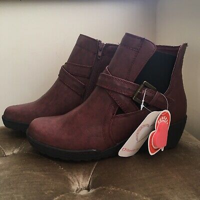 Heavenly Feet Burgundy Wedge Boots, Comfort Fit, Size 5, New With Tags And Box • 24.95£