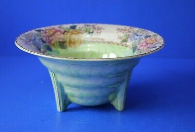 £20 • Buy 3 Footed Maling Lustre Bowl Lime Green With Peony Rose Pattern