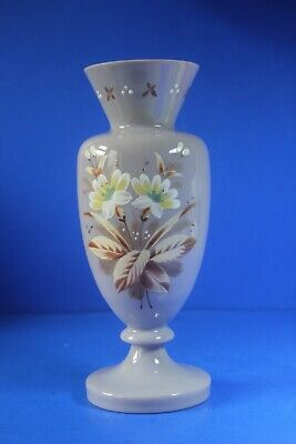 Victorian Antique Opaline Glass Floral Vase. 10  Tall. • 38£