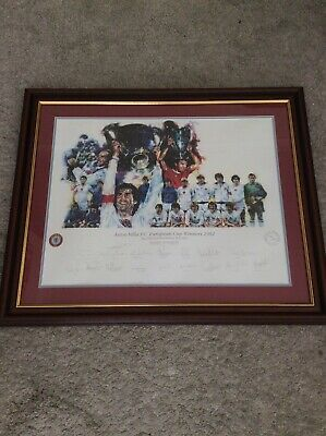 Signed Aston Villa Football Club 1982 European Cup Winners Rare Framed Picture • 250£