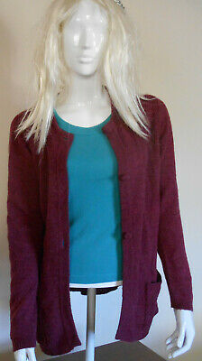 Womens Cotswold Collection 100% Lambswool Burgundy Long Cardigan Pockets Size M • 9.90£
