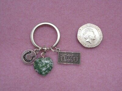 Moss Agate Keyring With Money Charm And  Lucky Horseshoe  Tag - Attracts Wealth • 4.75£