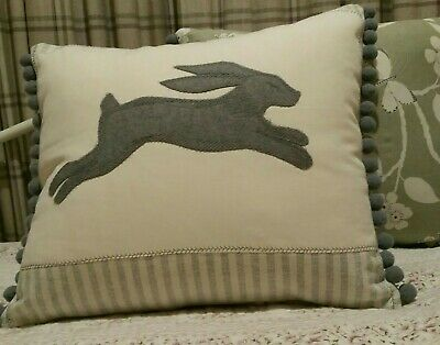 Susie Watson Stripe  Fabric Applique Wool Hare Cushion Grey Jumbo Pom-Pom Trim  • 26.95£