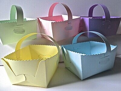10 Wedding/Baby Shower/ Easter Basket With Handle Favour Gift Box PASTEL Card. • 4.25£