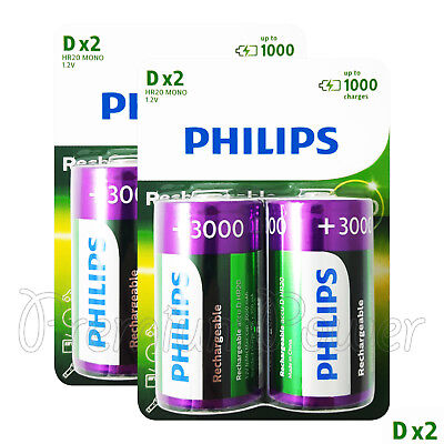 AU40.55 • Buy 4 X Philips Rechargeable D Size Batteries 3000mAh 1.2V Ni-MH HR20 MONO Pack Of 2