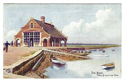 J Salmon Norfolk Card 2902. Wells Next The Sea, The Bank Artist C T Howard • 2.99£