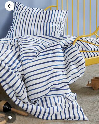 Ikea SANGLARKA Single Duvet Cover ✅ 150x200cm 🔝 COTTON Blue Stripes • 20.99£