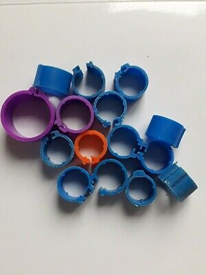 13 X 9mm, 1 X 12mm  & 1 X 16mm Used Poultry Clip Leg Rings For Chicken Etc • 2.99£