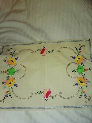 Vintage Hand Embroidered Dressing Table Mat 18 X 13 Inch • 1£