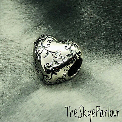 Authentic S925 Sterling Silver Heart Shaped Charm With Tendils & Cubic Zirconia • 8.50£