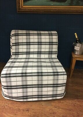 Slip Cover For Ikea Lycksele Chair Bed Tartan Effect Brushed Cotton Fabric • 55£