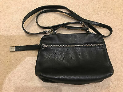 Coccinelle Black Leather Cross Body Unlined Bag Satchel Clutch • 30£