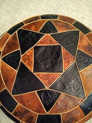 Handmade Round Leather Moroccan Pouf Pouffe Footstool Brown And Black • 35£