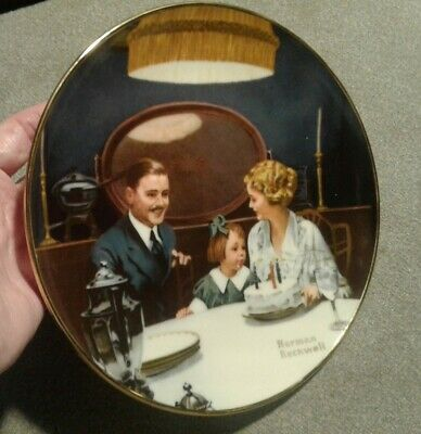 $ CDN4.90 • Buy Norman Rockwell Plates Edwin Knowles  The Birthday Wish  With Certificate
