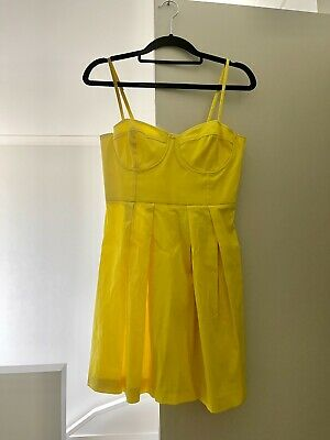 AU18 • Buy Forever New Size AU 8 Yellow Pleated Mini Dress
