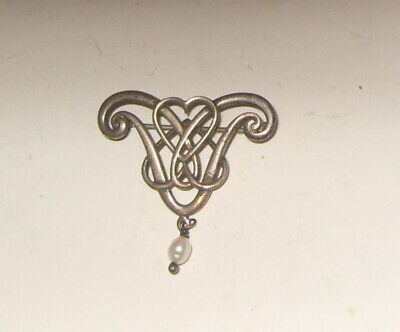 Scottish Ola Gorie Orkney Sterling Silver Brooch  Entwined Hearts Pearl • 40£