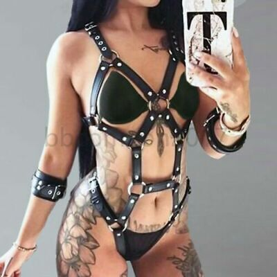 Chain Bra Set PU Body Chain Leather Cupless Handcuffs Lingerie Women Body Harnes • 12.99£