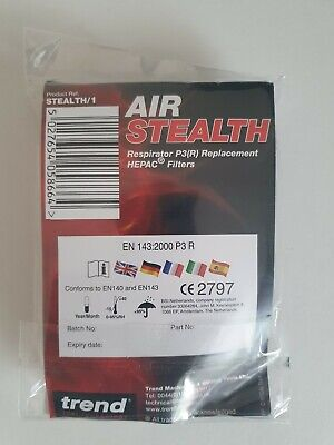 Trend Air Stealth Mask P3 HESPA Filters 99.99% SPARE FILTERS ONLY Royal Mail 1st • 1.20£