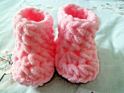 Hand Crochet Booties/shoes 6-9 Months 10 Cm Sole • 2.30£