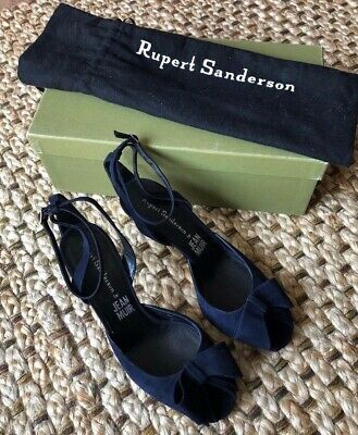Rupert Sanderson For Jean Muir - Mid-Heel Strapy Sandal With Bow In Navy Suede • 135£