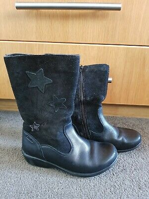 Clarks Daisy Boots Girls Size 11 F School Black Leather & Suede Star Design • 9.99£