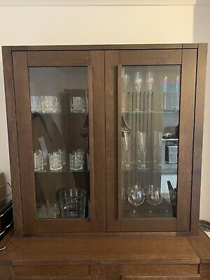 £249.99 • Buy Brand New M&s Marks And Spencer Sonoma Dark Oak 2 Door Glazed Top Unit *collect*