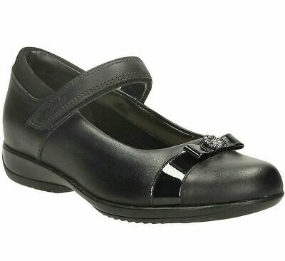 Clarks DAISY LOCKET Infant Girls Black Leather School Shoes UK 10 G Wide NEW • 25.99£
