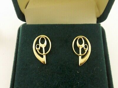 Nine Carat Gold Stud Earrings By Ola Gorie Frances Design  9 Ct Art Nouveau • 169.99£