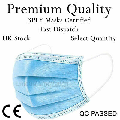 2 10 15 20 50 Face Mask Disposable High Quality Blue Masks Non Surgical Masks • 5.99£