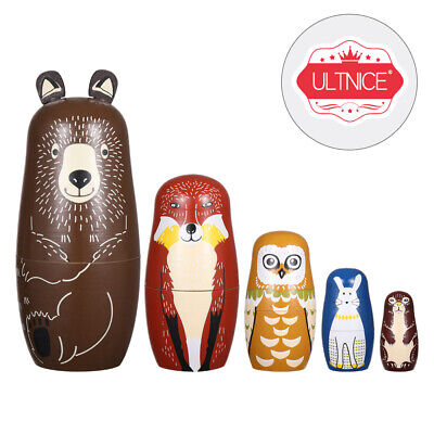 ULTNICE 5 Pcs Wooden Russian Nesting Dolls Stacking Dolls Set Collection Toy • 13.95£