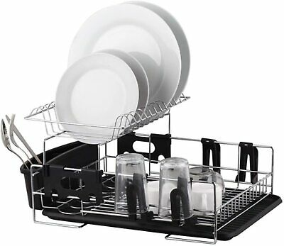 AU90.66 • Buy NEW STAINLESS STEEL 2 TIER DISHRACK Dish Rack Cutlery Utensil Caddy Drainer