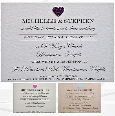 £3.80 • Buy 10 Wedding Invitations / Evening & Envelopes / Personalised / 3D Hearts - W29
